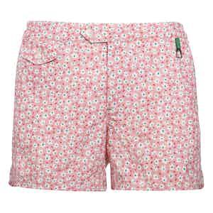 Pink Polyamide Floral-Print Swim Shorts