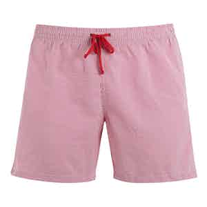 Red-Striped Poly-Mix Swim Shorts