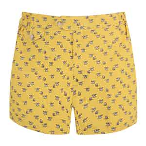 Yellow Cow-Print Polyamide Swim Shorts