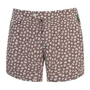 Brown Polyamide Floral-Print Swim Shorts