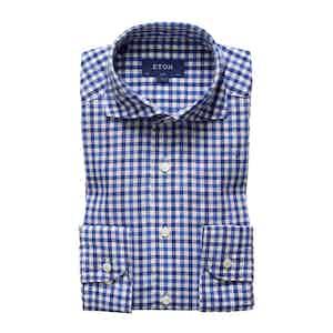 Blue Check Cotton-Linen Slim-Cut Shirt