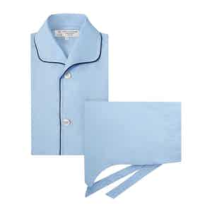 Blue Cotton Pyjama Set with Contrast Piping