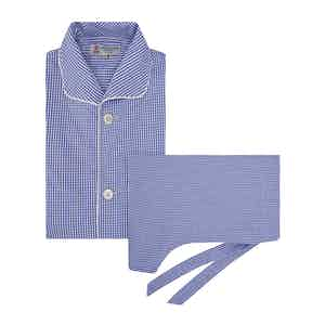 Blue Gingham Pyjama Set with Contrast Piping