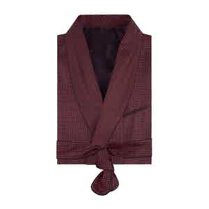Burgundy Spotted Silk Dressing-Gown