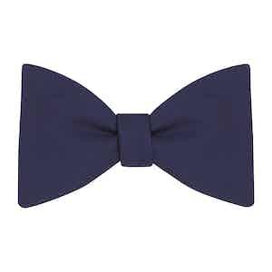 Navy Plain Silk Bow Tie