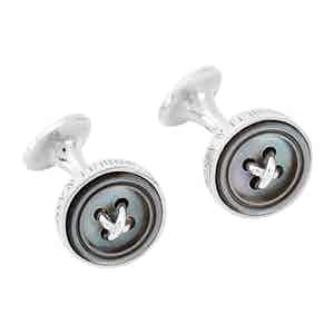 Grey Sterling Silver Button Cuffinks