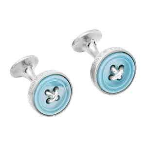 Blue Sterling Silver Button Cufflinks