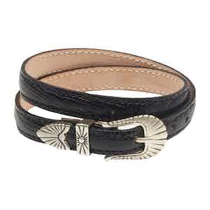 Black Leather Navajo Bracelet