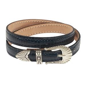 Blue Leather Navajo Bracelet