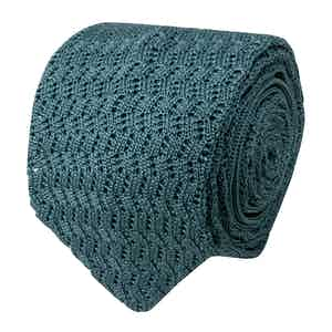 Light Green Zig-Zag Silk-Knit Tie