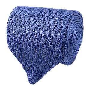 Light Blue Zig-Zag Silk-Knit Tie