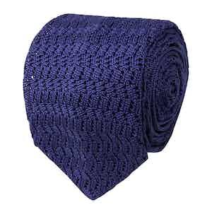 Light Purple Zig-Zag Silk-Knit Tie