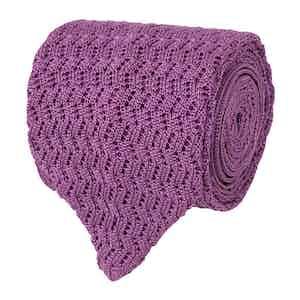 Lilac Zig-Zag Silk-Knit Tie