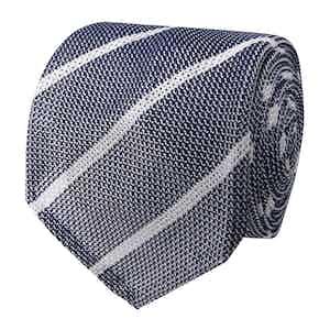 Grey-Striped Grenadine-Knit Silk Tie