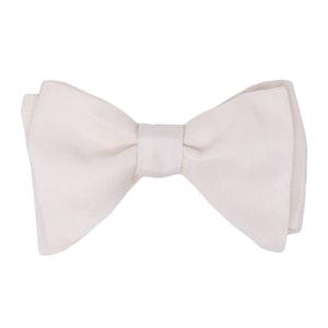 White Grosgrain Silk Butterfly Bow Tie