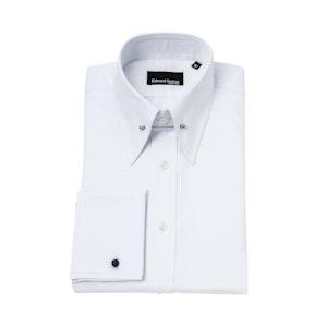White Cotton Regular-Fit Shirt with Pin Collar