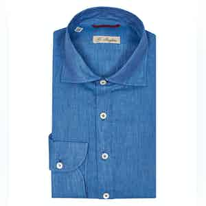 Light Blue Linen Gianni Agnelli Polo