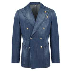 Blue Natural-Wash Denim Double-Breasted Jacket