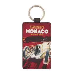 Red Leather Historic Monaco Grand Prix 1930 Keyring