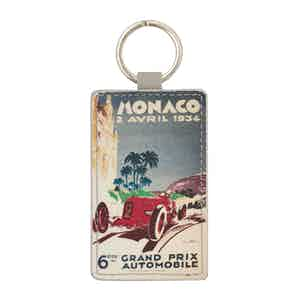 Blue-Grey Leather Historic Monaco Grand Prix 1934 Keyring