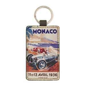 Brown Leather Historic Monaco Grand Prix 1936 Keyring