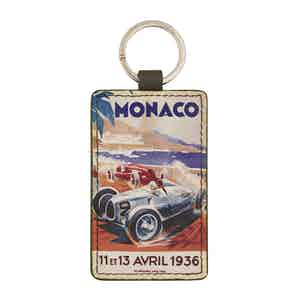 Brown Leather Historic Monaco Grand Prix 1936 Keyring