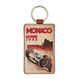 Tan Leather Historic Monaco Grand Prix 1948 Keyring