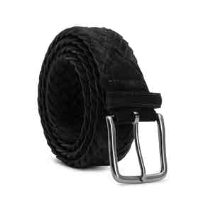 Black Braided Suede Belt Ernesto