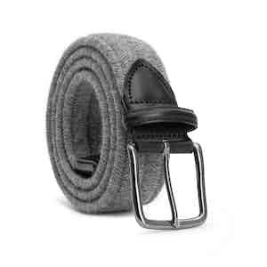 Grey Braided Wool Belt Flavio