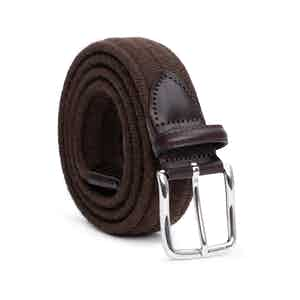 Brown Braided Wool Belt Stefano