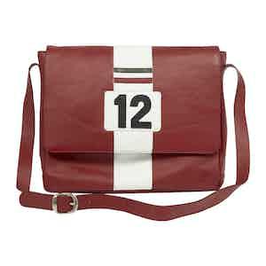 Red Leather Ferrari-Inspired Lauda Messenger Bag