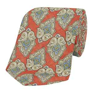 Coral Linen Amalfi Tie with Blue and Grey Leaf Print