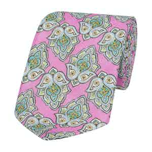 Pink Linen Amalfi Tie with Grey and Green Leaves