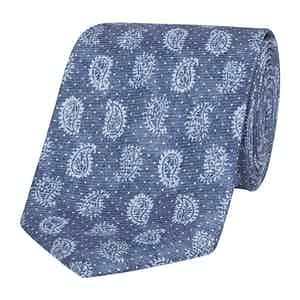 Blue Silk Tie with Tonal Paisley Petals
