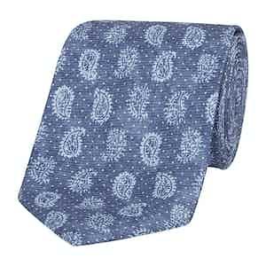 Blue Silk Tie with Tonal Paisley Petals