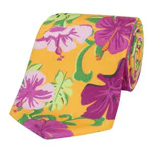Yellow Silk Tie with Pink Freesia Print