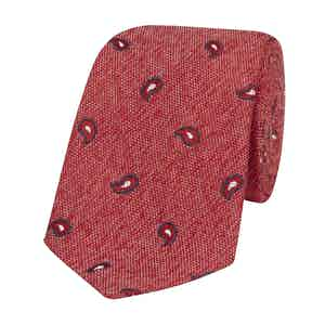 Red Silk-Linen Tie with Navy Paisley Petals