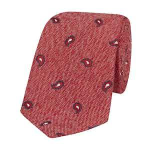 Red Silk-Linen Tie with Navy Paisley Petals