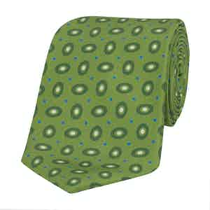 Apple-Green Silk Tie with Tonal Hoop Print
