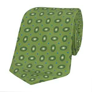 Apple-Green Silk Tie with Tonal Hoop Print