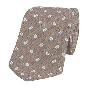Greige Silk-Linen Tie with Blue Paisley Petals