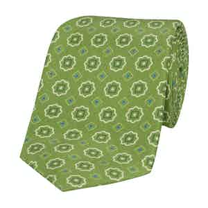 Green Silk Tie with White Flowers