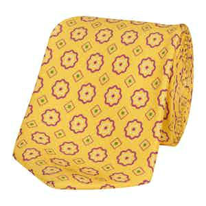 Yellow Silk Tie with Abstract Purple Daisy Print