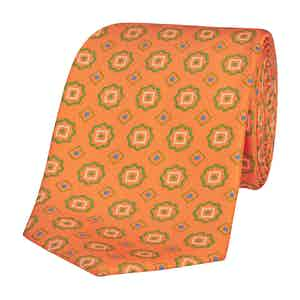 Neon Orange Silk Tie with Abstract Green Daisies