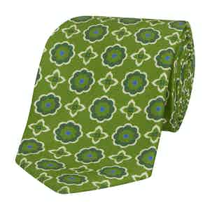 Green Silk Tie with Abstract Green Daisies