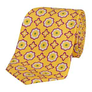 Yellow Silk Tie with Purple Daisy and Cross Print