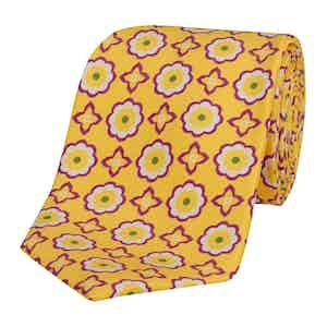 Yellow Silk Tie with Purple Daisy and Cross Print