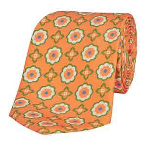 Orange Silk Tie with Green Daisy-Print