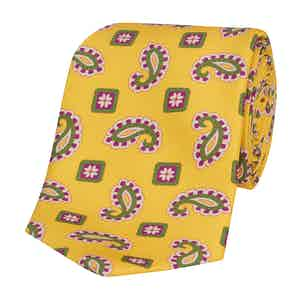 Yellow Silk Tie with Purple Paisley Print