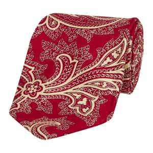 Red Silk Tie with Large Paisley Print
